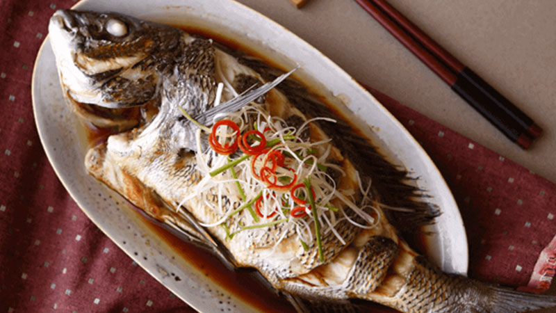 Lemon Steamed Fish Seasoned Soy Sauce