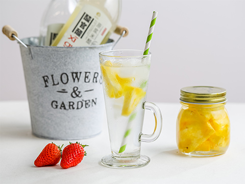 Use a ratio of 50mL pineapple infused vinegar, 25mL white granulated sugar and 300mL water.